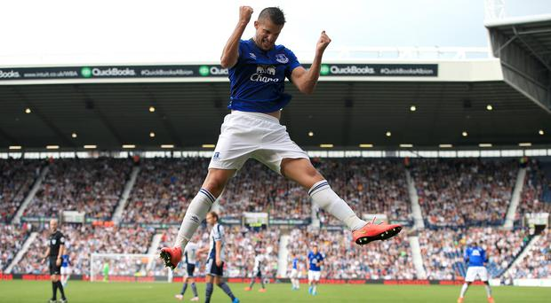 Kevin Mirallas celebrates scoring the second goal
