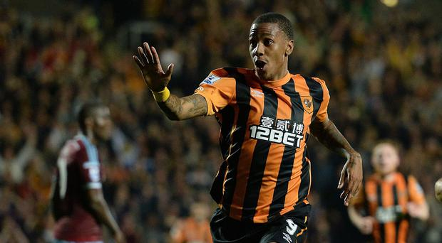 Abel Hernandez celebrates his debut goal, which came just two days after he landed in the country