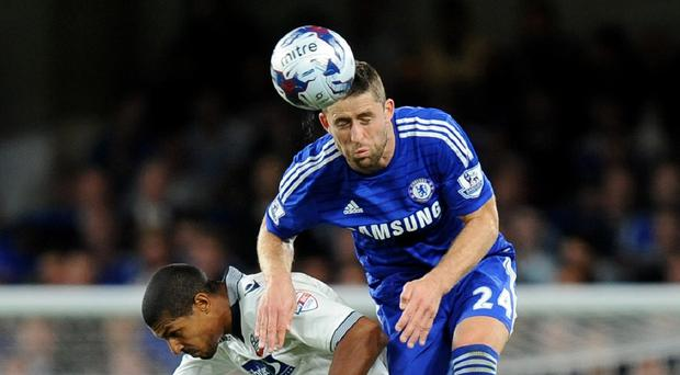 Gary Cahill, right, faces another former team in Aston Villa on Saturday