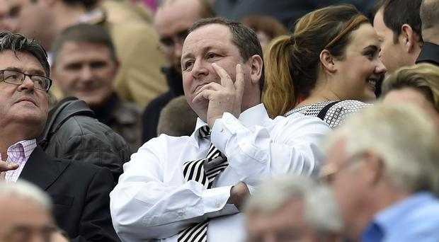 Mike Ashley, pictured, claims his comments questioning manager Alan Pardew's future were 'tongue in cheek'