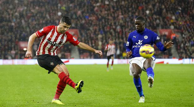 Shane Long's, left, double strike proved enough for Southampton against Leicester