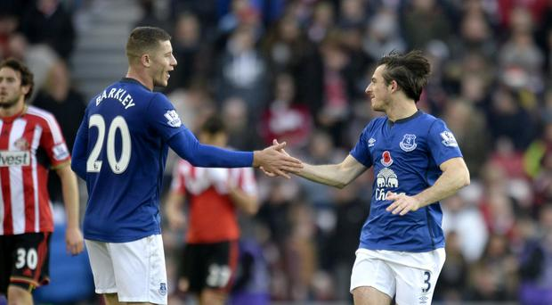 Everton's Leighton Baines (right) celebrates scoring his sides first goal of the game with teammate Ross Barkley during the Barclays Premier League match at the Stadium of Light, Sunderland. PRESS ASSOCIATION Photo. Picture date: Sunday November 9, 2014. See PA story SOCCER Sunderland. Photo credit should read Owen Humphreys/PA Wire. Editorial use only. Maximum 45 images during a match. No video emulation or promotion as 'live'. No use in games, competitions, merchandise, betting or single club/player services. No use with unofficial audio, video, data, fixtures or club/league logos.