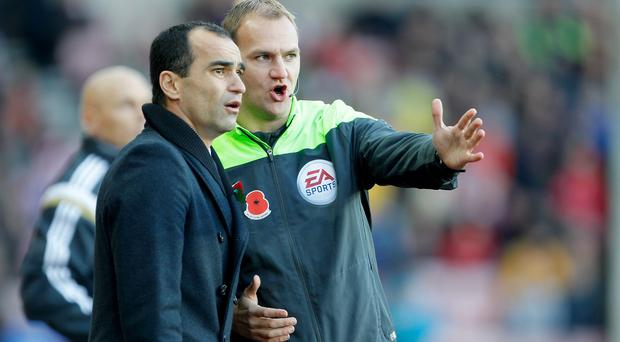 Roberto Martinez, left, was unhappy with the officiating