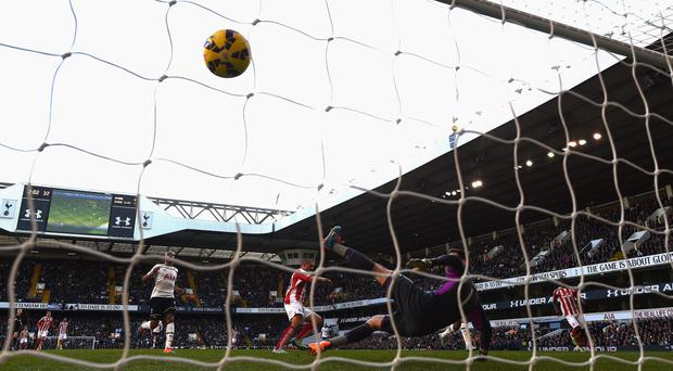 Back of net: Jonathan Walters scores Stoke City's second goal during his side's 2-1 at White Hart Lane