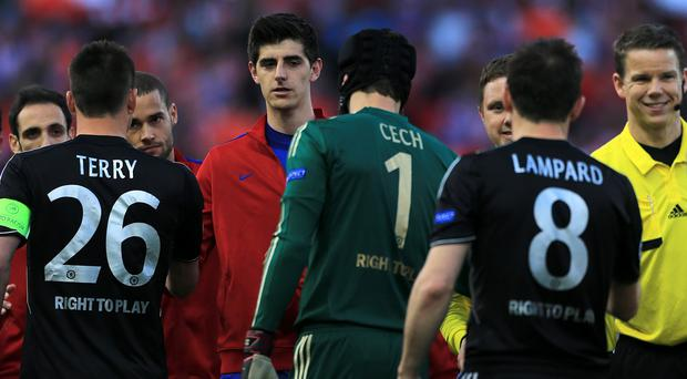 Thibaut Courtois, centre, says he would be seeking to leave Chelsea if, like Petr Cech, he was not number one