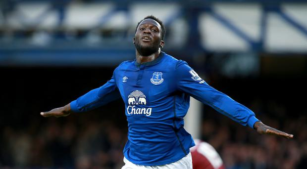 On the mark: Everton's Romelu Lukaku celebrates after scoring again