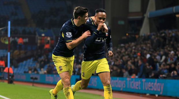 Southampton's Nathaniel Clyne, right, celebrates with Shane Long