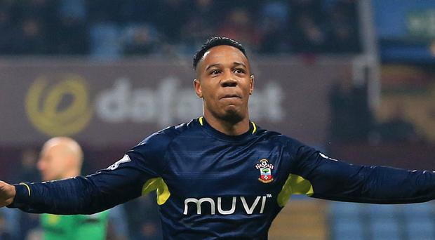 Southampton's Nathaniel Clyne celebrates their equaliser in the 1-1 draw at Villa Park.