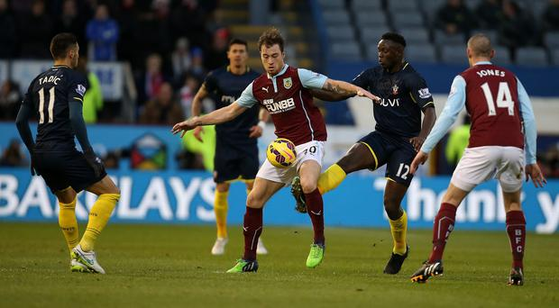 Ashley Barnes', centre, goal earned Burnley a vital win over stuttering Southampton