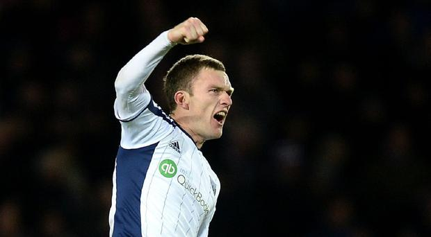 West Brom's Craig Gardner celebrates scoring the winner in the Baggies' 1-0 victory over his former club Aston Villa