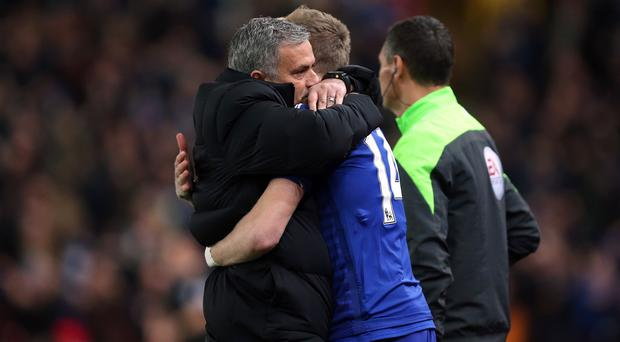 Jose Mourinho, left, was delighted with his side's victory at Stoke
