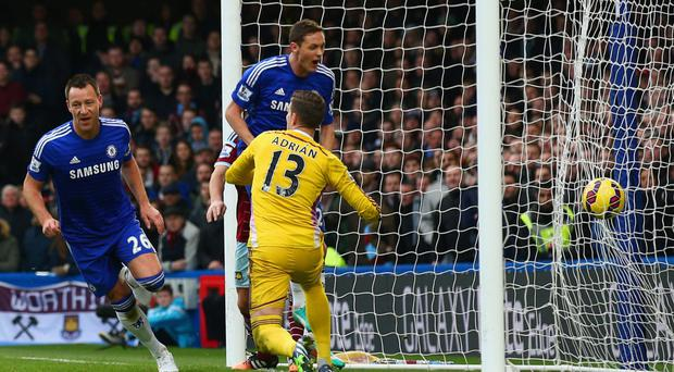 Leading by example: John Terry celebrates his goal yesterday