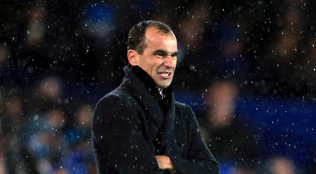 Roberto Martinez, pictured, was upset by Lee Mason's handling of the loss to Stoke