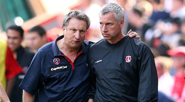 Neil Warnock, pictured left, looks set to be replaced by Alan Pardew, pictured right