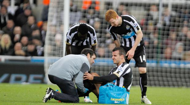 Steven Taylor, seated, damaged his Achilles tendon against Burnley