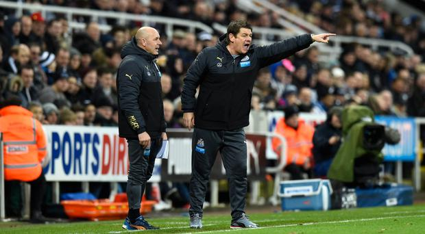 Come on: Newcastle stand-in boss John Carver makes his point