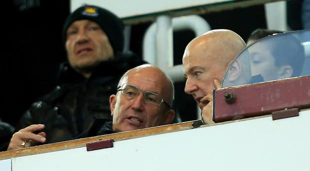 New West Brom manager Tony Pulis, centre, watched his side battle to a 1-1 draw at West Ham