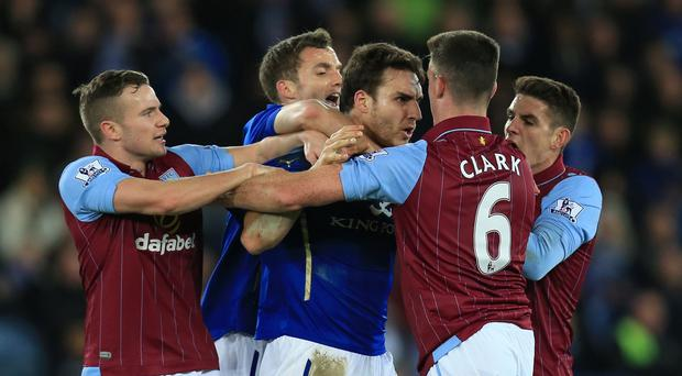 Leicester's win was marred by a late scuffle which saw Matty James and Ciaran Clark sent off