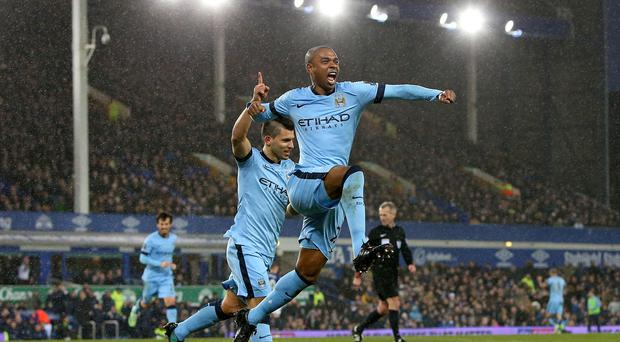 Manchester City's Fernandinho celebrates scoring his side's first goal during the Barclays Premier League match at Goodison Park, Liverpool.