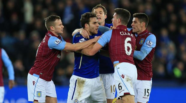 Matty James, centre, and Ciaran Clark's clash has seen their clubs charged by the FA