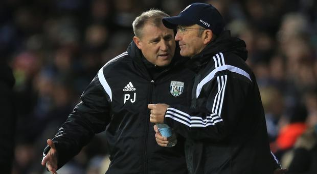 Paul Jewell, left, in conversation with Tony Pulis during his brief stay at West Brom