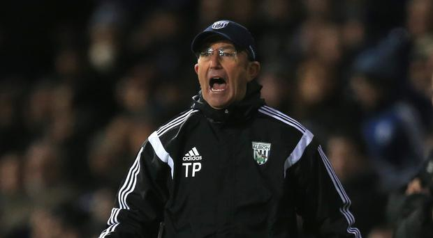 Tony Pulis is preparing to row the Channel as he tries to keep West Brom in the Barclays Premier League