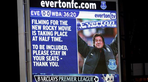 Sylvester Stallone delivered a video message at Goodison Park