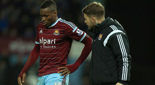 Diafra Sakho, left, suffered a recurrence of a back injury against West Brom on New Year's Day