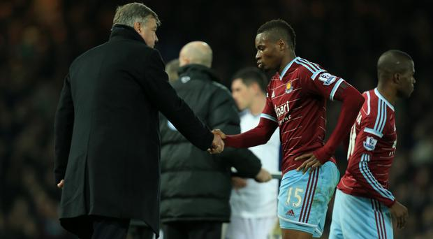 West Ham manager Sam Allardyce, pictured left, has defended the decision to play Diafra Sakho, right, despite the Senegal striker missing the African Nations Cup