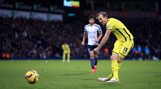 Harry Kane scores Tottenham's third goal against West Brom