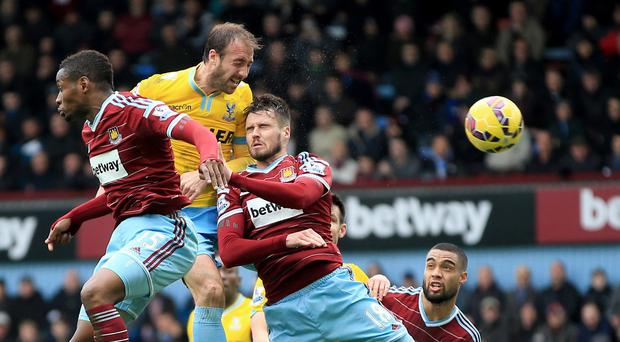 Glenn Murray, left, scored twice for Crystal Palace in their win over West Ham