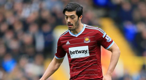West Ham will be without defender James Tomkins after he suffered a dislocated shoulder
