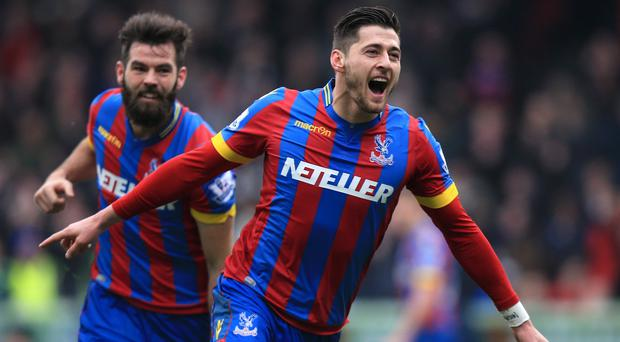 Joel Ward, right, scored the third goal in Crystal Palace's comfortable victory