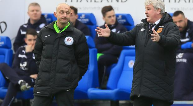 Hull manager Steve Bruce, right, has defended the actions of his players at Leicester
