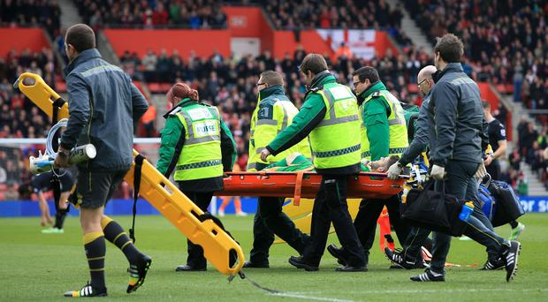 Fraser Forster was stretchered off at St Mary's