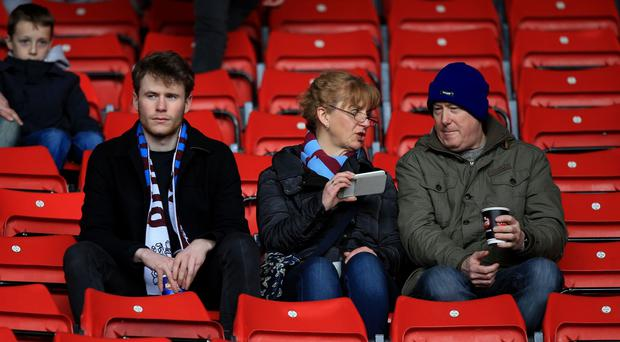 Burnley fans in the stands before the match during the Barclays Premier League match at St Mary's Stadium, Southampton