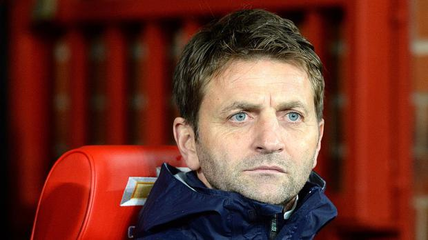 Tim Sherwood looks on as Tottenham beat Manchester United 2-1 at Old Trafford last season