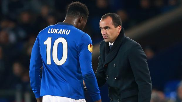 Everton manager Roberto Martinez, right, insists there is no issue over striker Romelu Lukaku's future