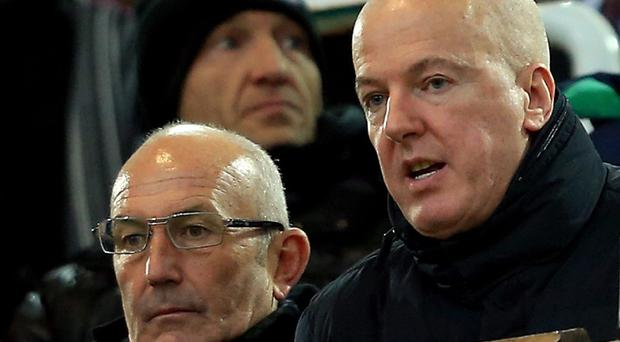West Brom chairman Jeremy Peace, right, is looking to sell the club