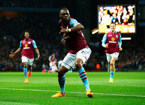 Christian Benteke celebrates in style after scoring for Aston Villa against Queens Park Rangers