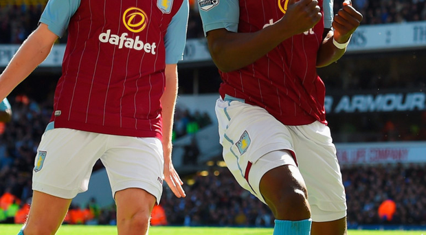Hot form: Christian Benteke celebrates his winner for Villa