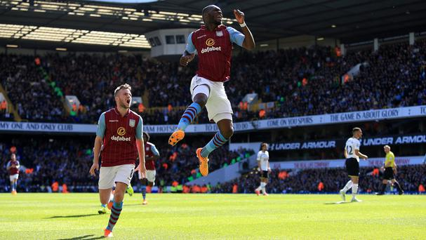 Aston Villa's Christian Benteke, right, celebrates his winner at Tottenham and believes there is more to come from him