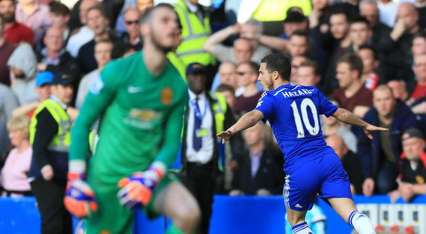 Eden Hazard, right, scored in Chelsea's win