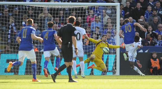 Andy King, right, fires in the second in Leicester's 2-0 win over Swansea