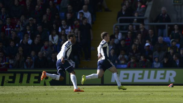 West Brom's Craig Gardner, right, celebrates his wonder goal against Crystal Palace