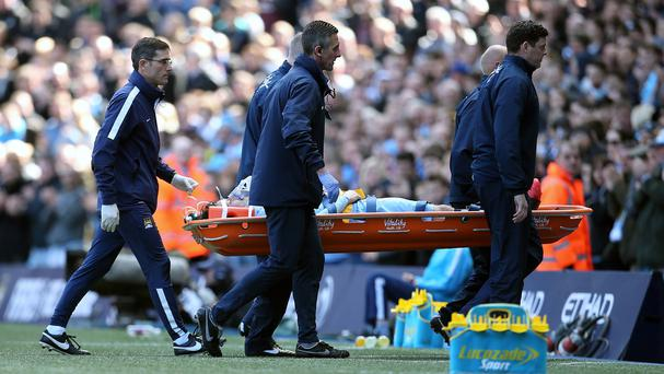 Manchester City's David Silva had to be carried off on a stretcher against West Ham on Sunday