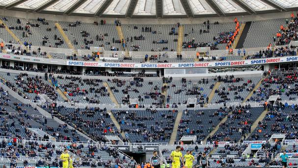 There were huge numbers of empty seats at Newcastle's Premier League game against Tottenham