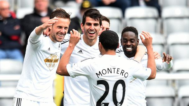 Swansea celebrate Gylfi Sigurdsson's goal in the second half against Newcastle