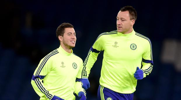 Eden Hazard, left, and John Terry were among six Chelsea players in the PFA team of the year