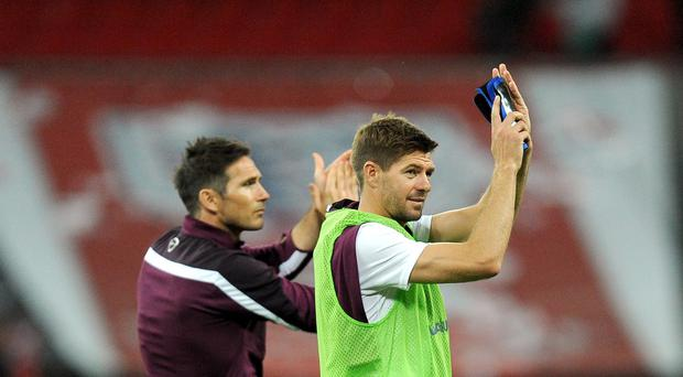 Steven Gerrard, right, and Frank Lampard shared the PFA Merit award